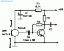Угольные микрофоны.  Рис. 3.10.  Принципиальная схема включения микрофона типа МКЭ-3 на входе транзисторного УЗЧ.