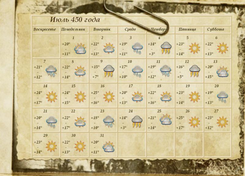 Календарь с погодой на Июль.