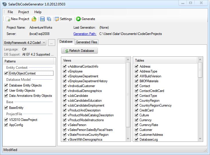 SalarDbCodeGenerator 2.1.2013.0719 Stable