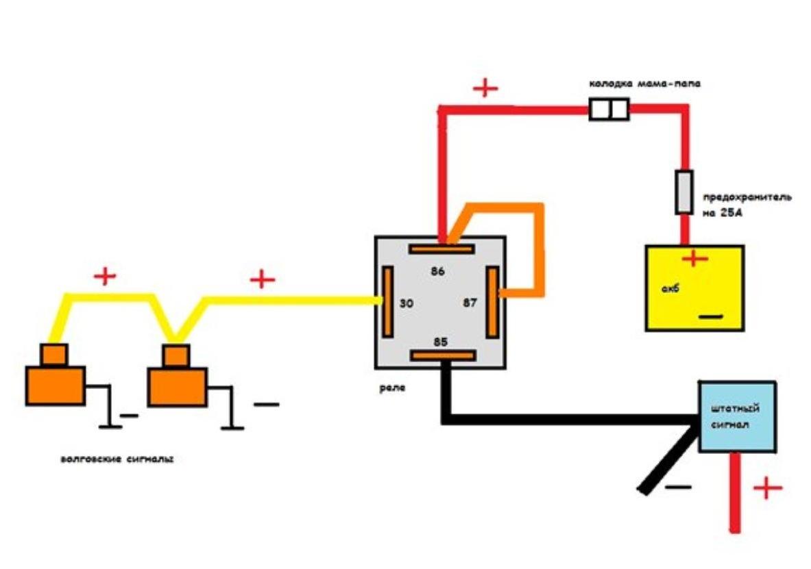 Схем подключения волговского сигнала через реле на уаз