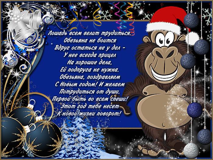 Новогоднее поздравления от обезьяны